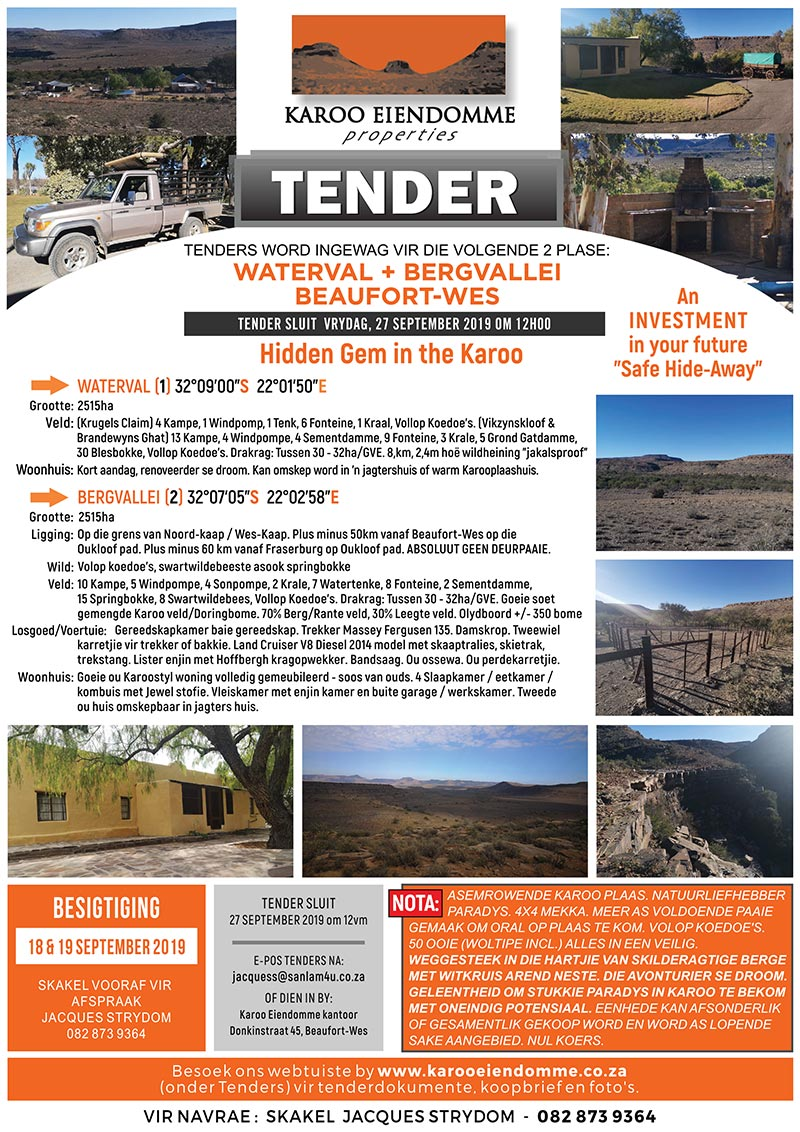 Tender for sale of Waterval and Bergvallei farms