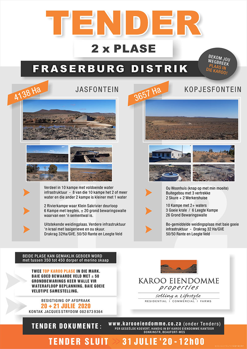 Tender for sale of Jasfontein and Kopjesfontein farms